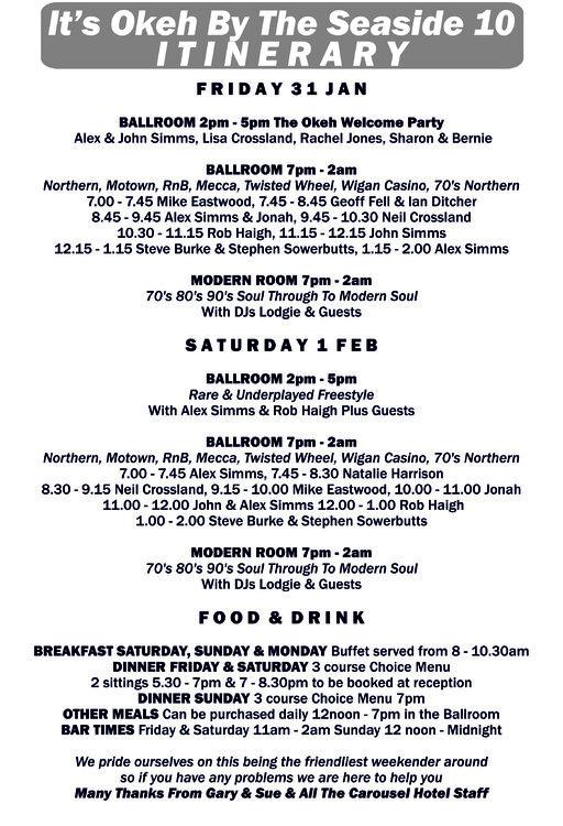 soul 2020 Blackpool Itinerary