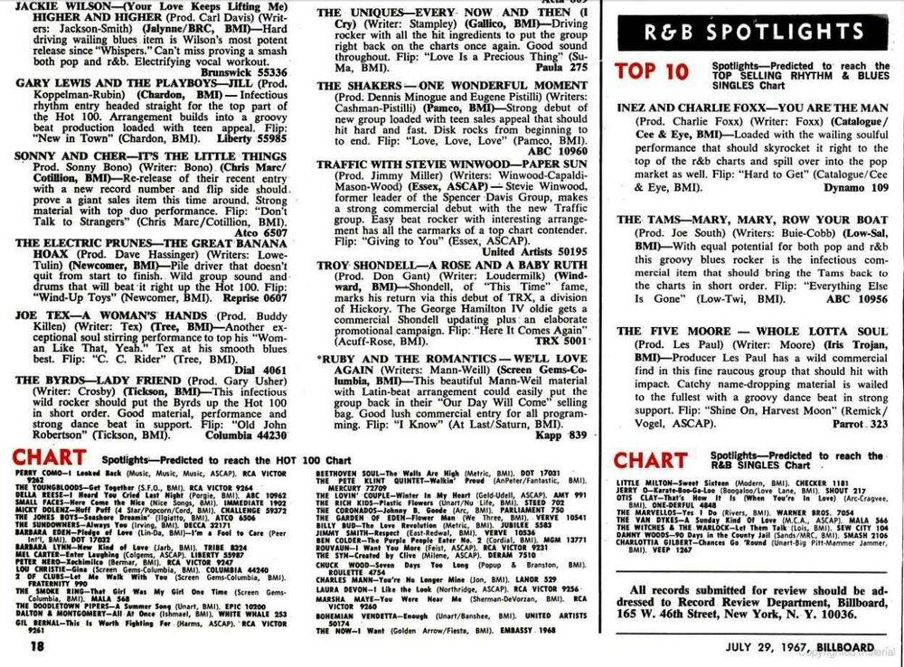 soul Billboard releases July 1967