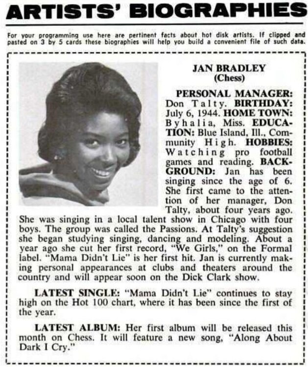 soul jan bradley bio billboard march 63