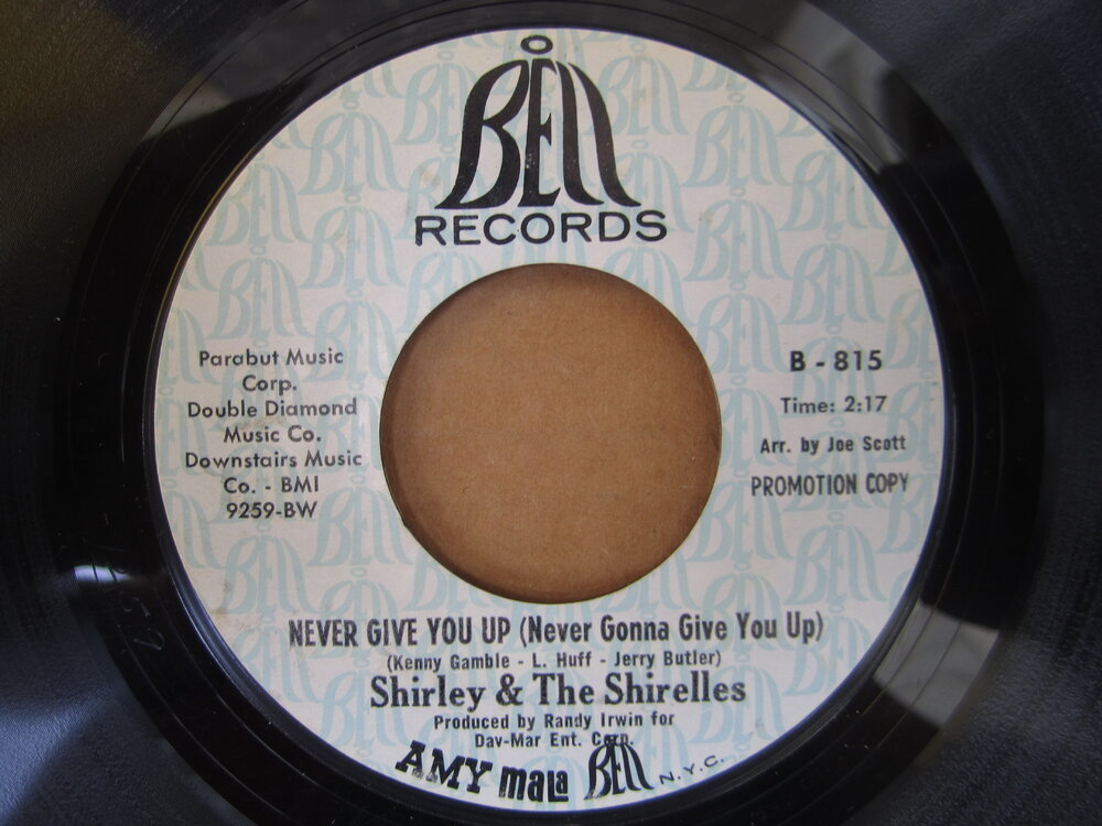 Shirley & the Shirelles - never give you up BELL.JPG